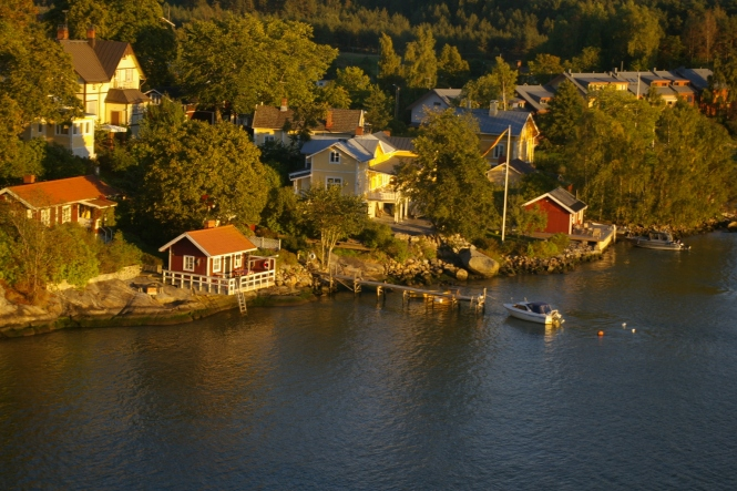 Åland maisema ennen satamaa