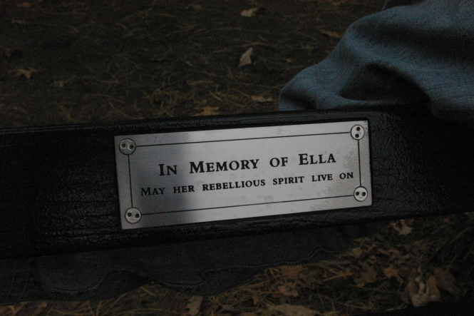 Every bench in Central Park has this kind of memorial plaque. We were sitting on Ella´s bench.